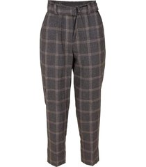 belted plaid wool pant
