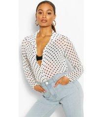 tall chiffon blouse met stippen, ivoor