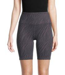 nanette lepore women's high-waist tiger-print bike shorts - black - size xl
