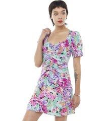 vestido corto manga globo ajustado fucsia flores mujer corona
