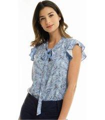 blusa azul estampada con lazo en cuello para mujer 97444