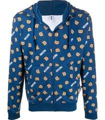 moschino teddy print zip-up hoodie - blue