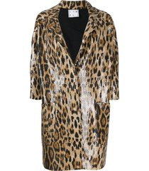 in the mood for love sara animal print jacket - brown