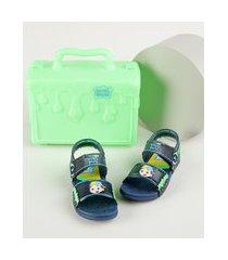 sandália papete infantil grendene luccas neto vem com maleta azul marinho
