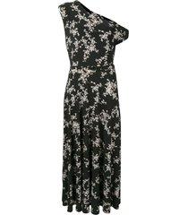 norma kamali drop-shoulder midi dress - black
