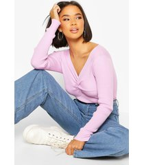 twist front rib cropped sweater, lilac