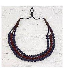 multi-strand fabric wrapped beaded necklace, 'purple flair' (india)