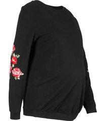 mammasweatshirt med blomsterdetalj