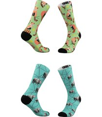 women's tribe socks assorted 2-pack red panda & rhino crew socks, size one size - blue/green