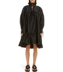 women's cecilie bahnsen karly long sleeve seersucker dress, size 8 us - black