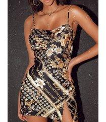 correas de hombro ajustables negras de yoins bufanda imprimir vestido