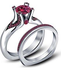 0.1ctw round cut sapphire 14k white gold finish bridal wedding ring set