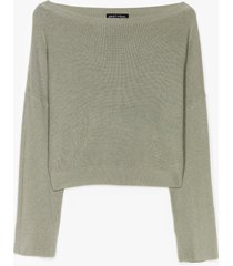 womens knit's on the agenda relaxed lounge sweater - khaki