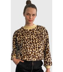 sweater nrg animal print camel - calce regular