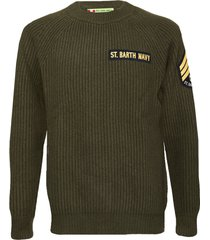 military green blended cashmere sweater with patch