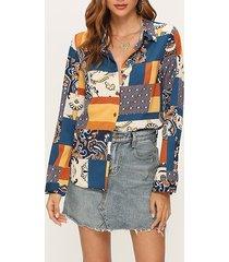 blusa de manga larga con estampado de botones multicolor