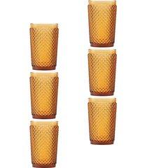 conjunto 6pã§s copos rojemac bico de jaca ã'mbar 355ml bon gourmet - amarelo - dafiti