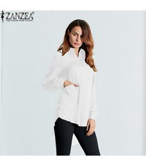 nuevo zanzea mujeres blusas femininas 4 bolsillos de colores casual turn down collar blusa camisas transparentes vestido tops de manga larga (blanco) -blanco
