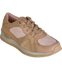 zapato cuero  textil brahma mujer rosado ki2872-ros