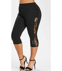 plus size floral lace insert o ring fitted leggings