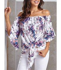 camicetta ampia annodata a mezza manica con stampa floreale da donna
