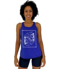 regata feminina alto conceito ases indígena azul royal