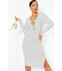 gerecyclede geribde midi-jurk met sluiting voorkant, lichtblauw