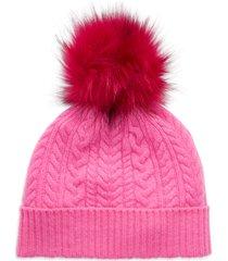 women's halogen cash chunky faux fur pom cashmere beanie - pink