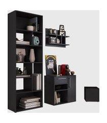conjunto para escritório 01 livreiro/balcáo multiuso/prateleira/cachepôt preto modern office e estilare móveis