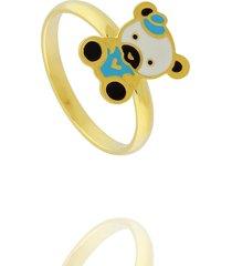 anel dona diva semi joias ursinho dourado - kanui