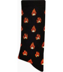 mens black flame print tube socks