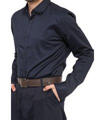 camisa forum slim lisa azul-marinho
