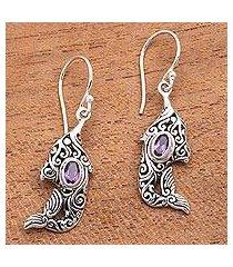 amethyst dangle earrings, 'purple dolphin' (indonesia)