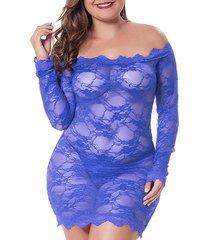 scalloped trim off shoulder lace plus size lingerie babydoll
