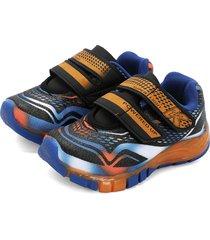 tenis azul-naranja-negro kidy calcados flex