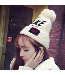 autumn winter women letters take ball knitted caps ladies warm hats beanie skull
