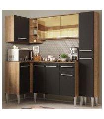 cozinha completa de canto madesa emilly river com balcão e armário vidro reflex rustic/preto rustic/preto