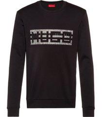 hugo boss men's fleece studded logo sweatshirt