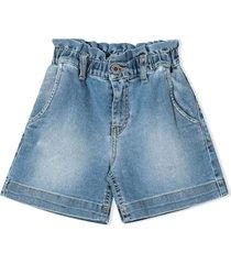 msgm blue cotton denim shorts