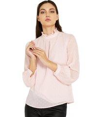 blusa brillos cuello alto rosado nicopoly