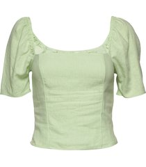 puff set top blouses short-sleeved groen abercrombie & fitch