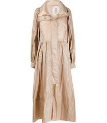 khrisjoy oversized bell sleeve coat - neutrals