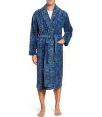 men's majestic international posh plush robe, size small/medium - blue