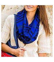 cotton scarf, 'blue totonicapan diamonds' (guatemala)