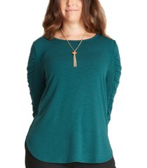 bcx juniors' ruched-sleeve necklace top