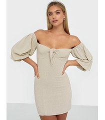 nly trend off shoulder linen dress skater dresses