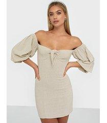 nly trend off shoulder linen dress skater dresses