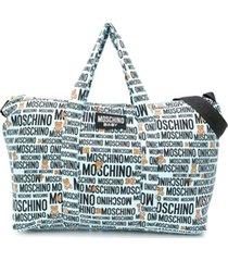 moschino kids bolsa maternidade com estampa de logo - azul