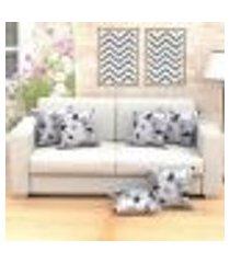 jogo de almofada decorativa floral cinza 45cm x 45cm com refil de silicone super macio - tecido jacquard