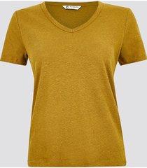 t-shirt i linne med v-ringning - ljusbrun